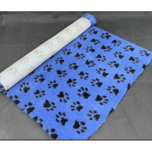 Professional Quality Vet Bedding, Blue with Black paw print